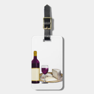 RED WINE  AND  CHEESE, CHEESE LOVERS GIFT LUGGAGE TAG