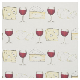 Red Wine and Cheese Wine Tasting Food Fabric