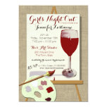 """Red Wine and Painting Art Party 5"""" X 7"""" Invitation Card"""