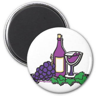 Red Wine and Purple Grapes 2 Inch Round Magnet