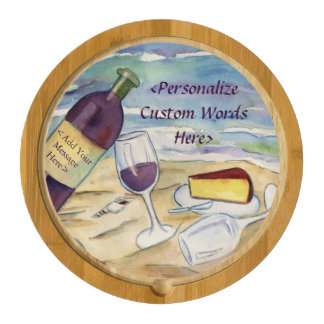 Red Wine Beach Party Custom Cheese Board Round Cheeseboard