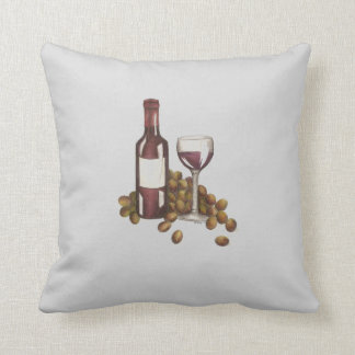 Red Wine Bottle Glass Grapes Winery Wines Pillow