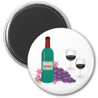 RED WINE BOTTLE, GLASSES AND GRAPES MAGNET