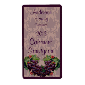 Red Wine Bottle Label with Grapes Shipping Label