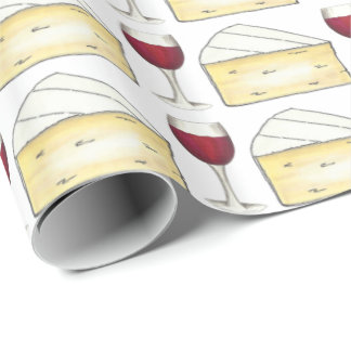 Red Wine + Brie Cheese Wine Glasses Gift Wrap