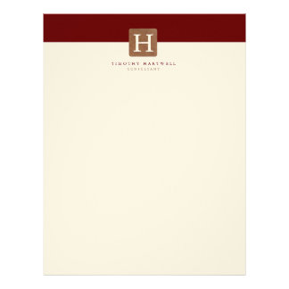 Red Wine Color Split Bold Monogram Letterhead