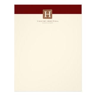 Red Wine Color Split Bold Monogram Personalized Letterhead