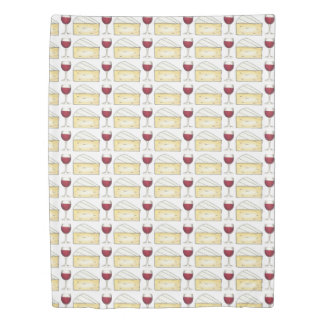 Red Wine Glass and Brie Cheese Foodie Bedding Duvet Cover