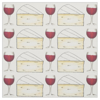 Red Wine Glass and Brie Cheese Foodie Fabric