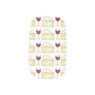 Red Wine Glass and Brie Cheese Foodie Nail Art