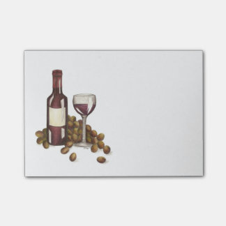 Red Wine Glass, Bottle, and Grapes Post-It Note