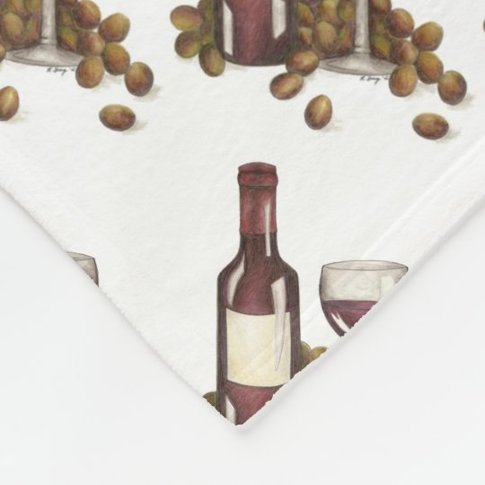 Red Wine Glass Bottle Grapes Drinking Blanket