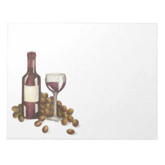 Red Wine Glass Bottle Winery Wine Bar Gift Notepad