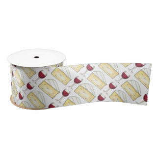 Red Wine Glass Brie Cheese Cocktail Party Ribbon Satin Ribbon