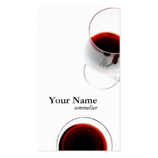 red wine glass business card - sommelier