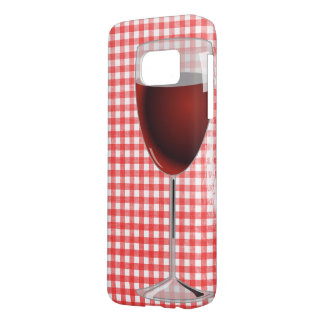 red wine glass on gingham samsung galaxy s7 case