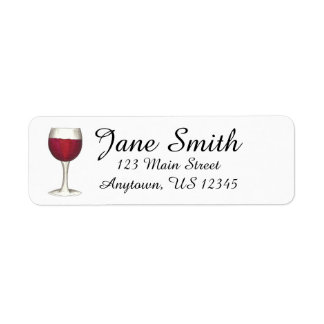 Red Wine Glass Personalized Address Label Stamp