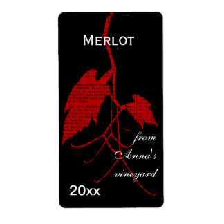 Red wine grape leaf with print shipping label