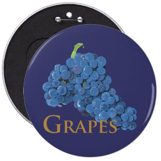Red Wine Grapes 6 Inch Round Button