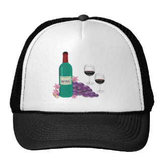 RED WINE GRAPES AND GLASSES STILL LIFE HAT