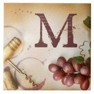 Red Wine Grapes Cork Screw Monogram Display Tile
