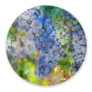Red Wine Grapes in the Vineyard Ceramic Knob