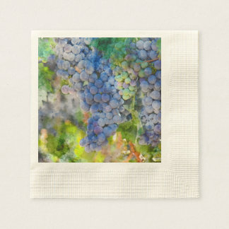 Red Wine Grapes in the Vineyard Disposable Napkins