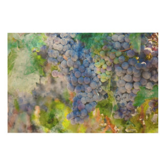 Red Wine Grapes in the Vineyard Wood Wall Art