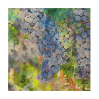 Red Wine Grapes in the Vineyard Wood Wall Decor
