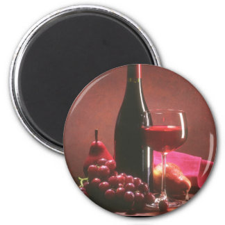 Red Wine & Grapes Magnet