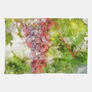 Red Wine Grapes on the Vine Kitchen Towel