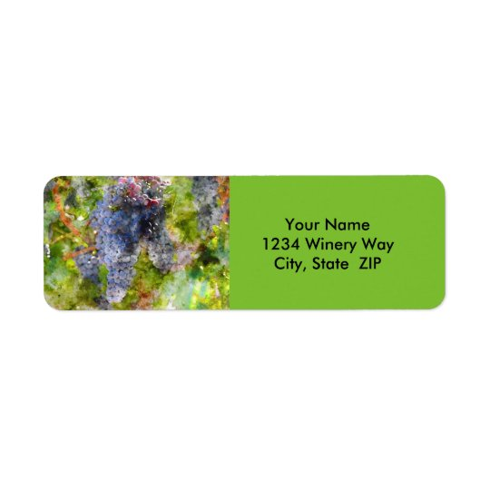 Red Wine Grapes on the Vine Return Address Label
