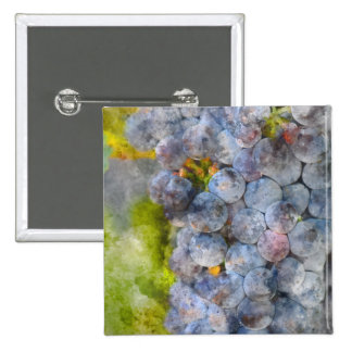 Red Wine Grapes on Vine 2 Inch Square Button