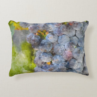 Red Wine Grapes on Vine Accent Pillow