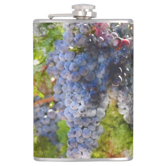 Red Wine Grapes on Vine Hip Flask