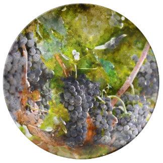 Red Wine Grapes on Vine Porcelain Plate