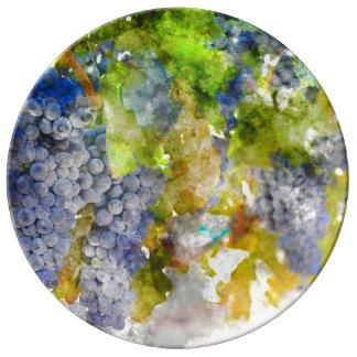 Red Wine Grapes on Vine Porcelain Plates