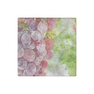 Red Wine Grapes on Vine Stone Magnets