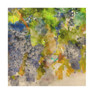 Red Wine Grapes on Vine Wood Canvas
