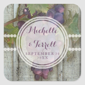 Red Wine Grapes on Vineyard Bard Wood Wedding Square Sticker