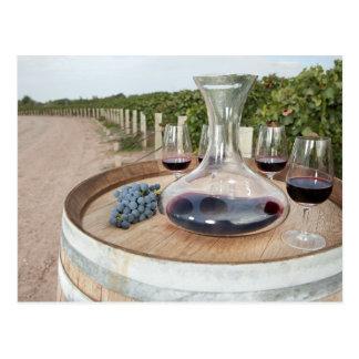 Red Wine In Vineyard Postcard