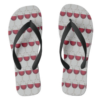 Red Wine Lover Vino Glass Cabernet Merlot Print Flip Flops