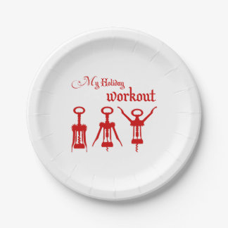 Red Wine Openers Holiday Workout template Paper Plate