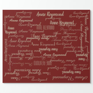 red-wine personalized handwritten name pattern wrapping paper