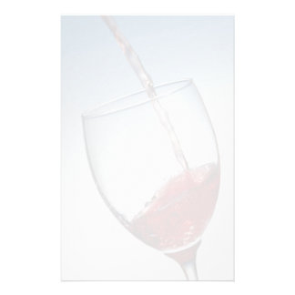 Red wine poured into wine glass personalized stationery