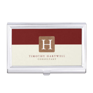 Red Wine | Sand Color Split Monogram Case For Business Cards