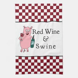 Red Wine & Swine Kitchen Towel
