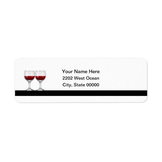 Red Wine Tasting Party Return Address Label