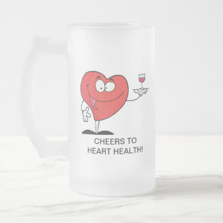 Red Wine Toast to Heart Health Frosted Glass Mug