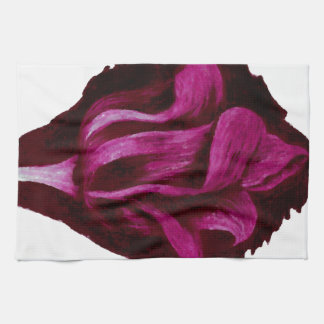 Red Wine Tulip Pastels Floral Art Burgundy Romance Kitchen Towel